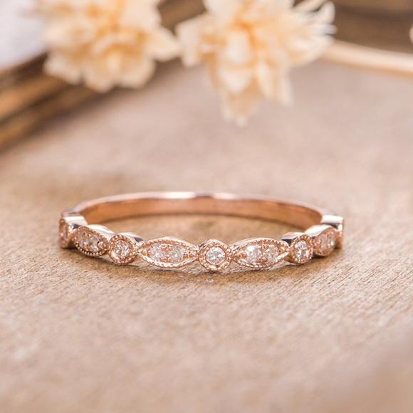Rose gold half eternity Art Deco wedding band ring